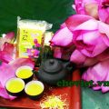Sản phẩm chè ướp hoa sen Hồ Tây của chè sen Minh Cường được người yêu trà sen đánh giá cao về chất lượng, hương sen quyện giữa vị trà đậm đà.