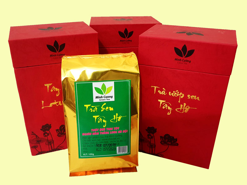 Sản phẩm trà ướp sen Tây Hồ Cao cấp của trà sen Minh Cường